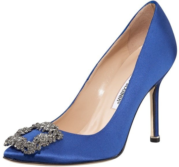 "Manolo Blahnik ""Hangisi"" Satin Pumps in Cobalt Blue"
