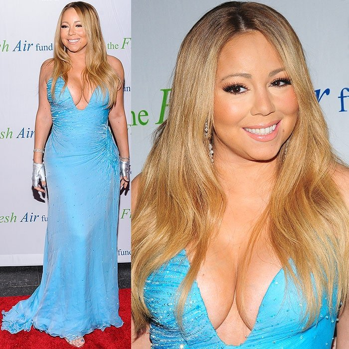 Mariah Carey in a cleavage-baring Atalier Versace dress which thigh-high slit showed the Sergio Rossi cage sandals on her feet