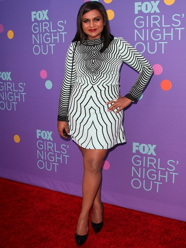 Mindy Kaling wearing Marc by Marc Jacobs Radio Waves-print crepe dress