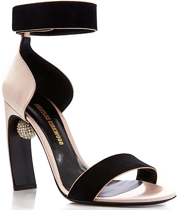 Nicholas Kirkwood Swarovski-Embellished Suede-and-Satin Sandals