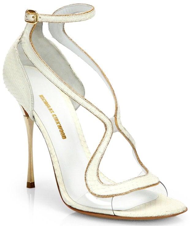 Nicholas Kirkwood White Strappy Python Sandals