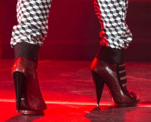 """Nicki Minaj wearing red python Gucci """"Olimpia"""" booties"""