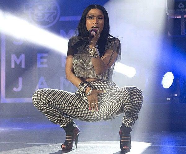 Nicki Minaj didn't wear a bra underneath her Fannie Schiavoni mesh cropped top