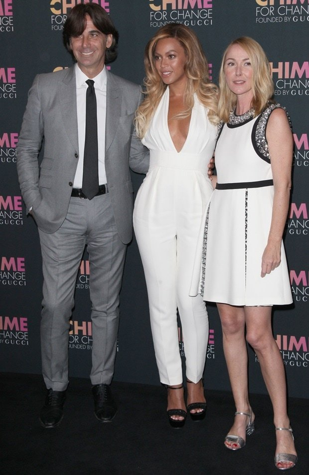 Patrizio di Marco, Beyonce, and Frida Giannini at Chime for Change One-Year Anniversary event at the Gucci flagship store in New York City on June 3, 2014