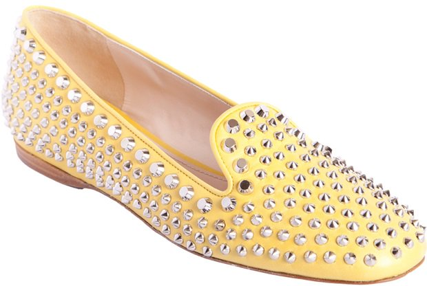 Prada Yellow Studded Smoking Slippers
