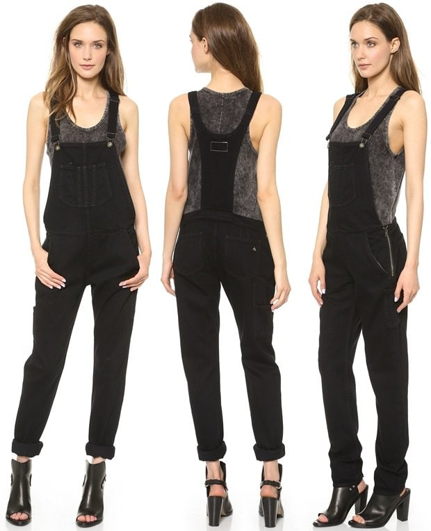 Denim Rag & Bone/JEAN overalls styled with exposed side zips for an edgy update to a casual classic.