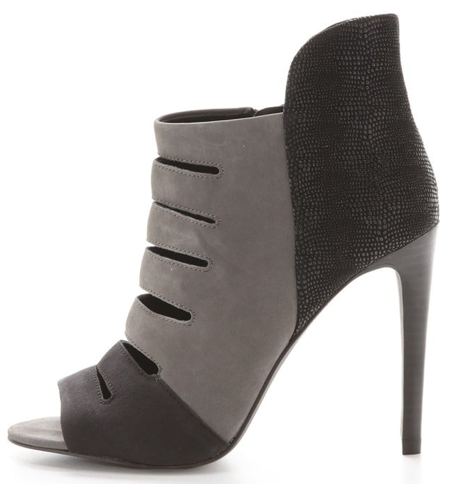 Open-toe Rebecca Minkoff booties styled in luxe nubuck and lizard-embossed suede