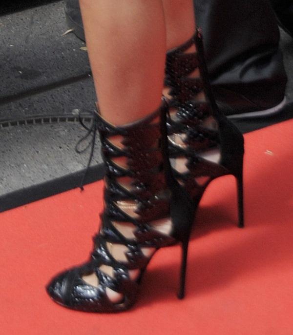Rihanna'sAlaia cutout lace-up booties