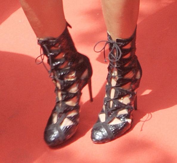 Rihanna rocking Alaia cutout lace-up booties