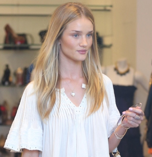"""Rosie Huntington-Whiteley inan embroidered """"Alexia"""" top by Isabel Marant"""