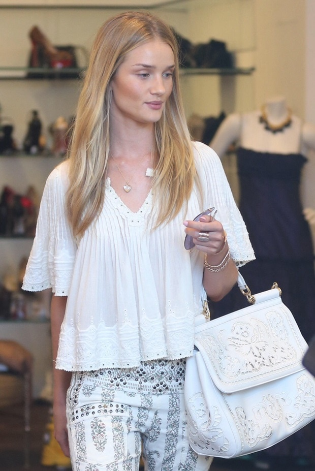 """Rosie Huntington-Whiteley'sfloral embroidered Dolce & Gabbana """"Sicily"""" tote"""