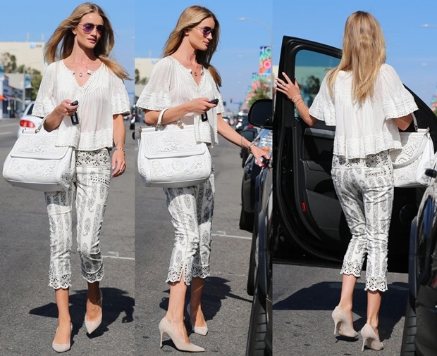 Rosie Huntington-Whiteley shopping for clothing at Decades