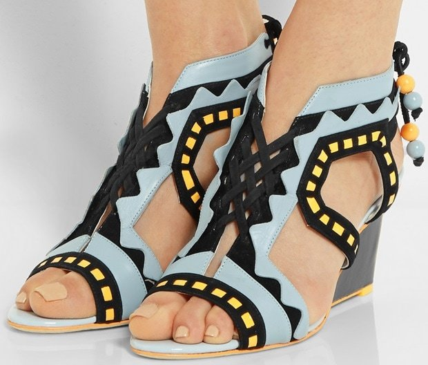 Sophia Webster Riko cutout leather and suede wedge sandals
