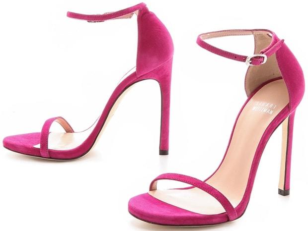 Stuart Weitzman Nudist Single Band Sandals in Pink