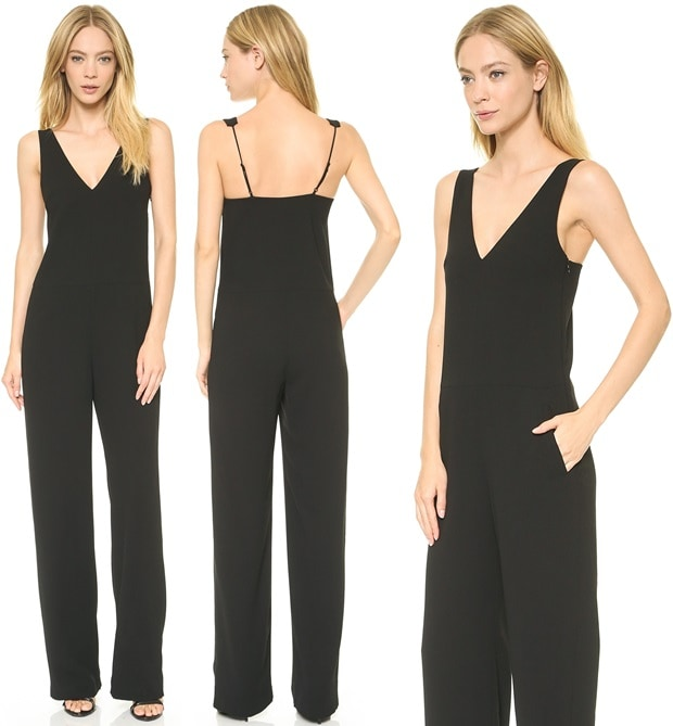 A smooth, slinky drape gives this T by Alexander Wang jumpsuit an effortless feel.