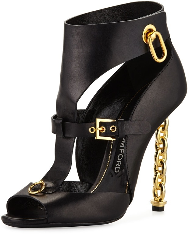 Tom Ford Women's Buckled Chain-Heel Cutout Sandals in Black
