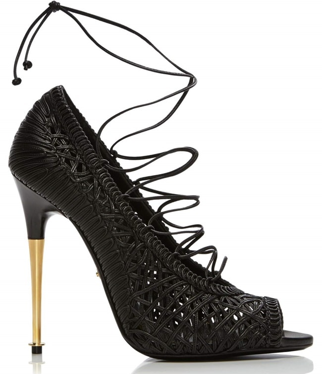 Tom Ford Nappa Leather Lace-Up Pumps in Black