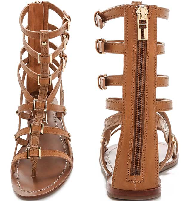 579202d44e9dd5 Smooth and croc-embossed leather lends elegant texture to effortless  cowhide gladiator sandals