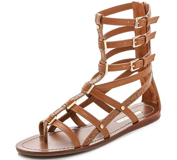 Smooth and croc-embossed leather lends elegant texture to effortless cowhide gladiator sandals