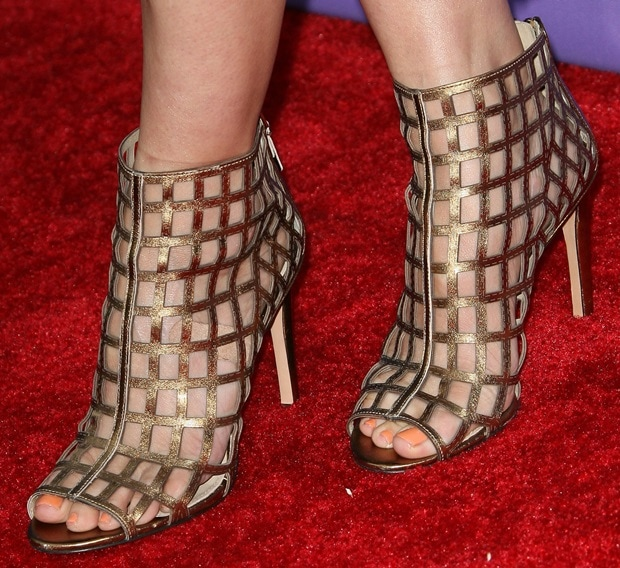 """Chelsea Peretti wearing open-toe caged """"Elenora"""" sandals from the Via Spiga Spring/Summer 2014 collection"""