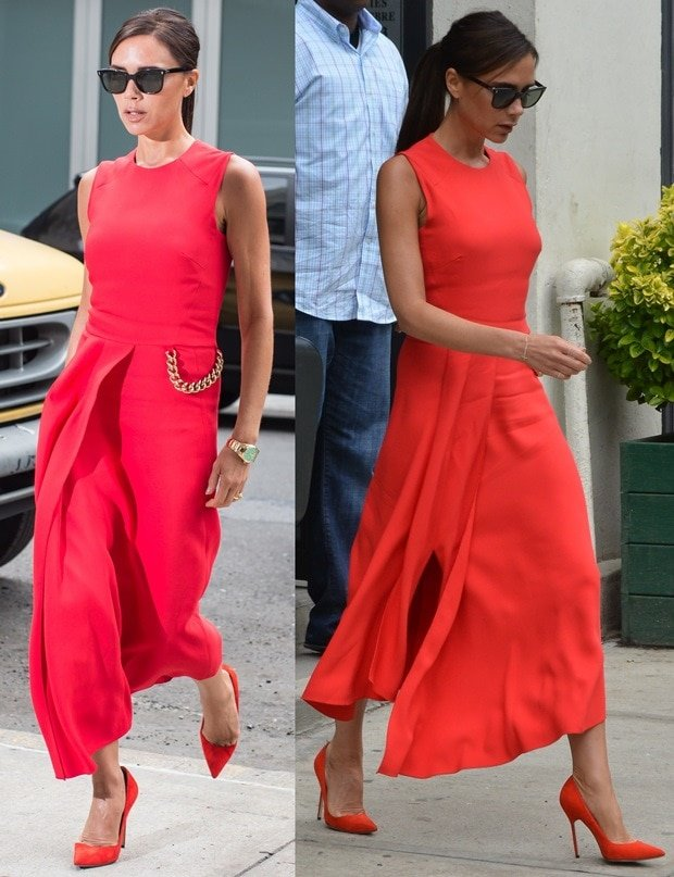 Victoria Beckham wearing a bright red dress and matching shoes while out and about in Manhattan, New York City, on June 10, 2014