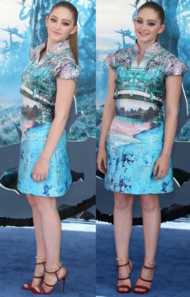 Willow Shields styled the dress with a pair of strappy sandals from the Ruthie Davis Fall 2014 collection