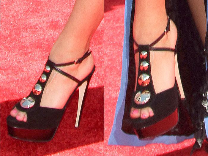 Zendaya Coleman silver stud suede sandals