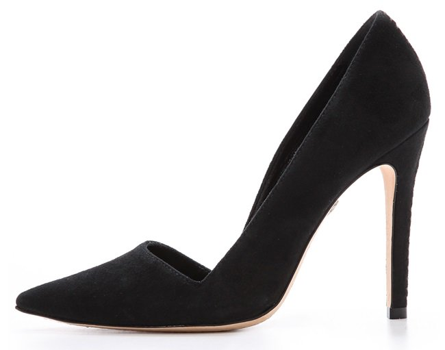 An angular top line and pointed-toe silhouette lend a polished look to brushed suede alice + olivia pumps