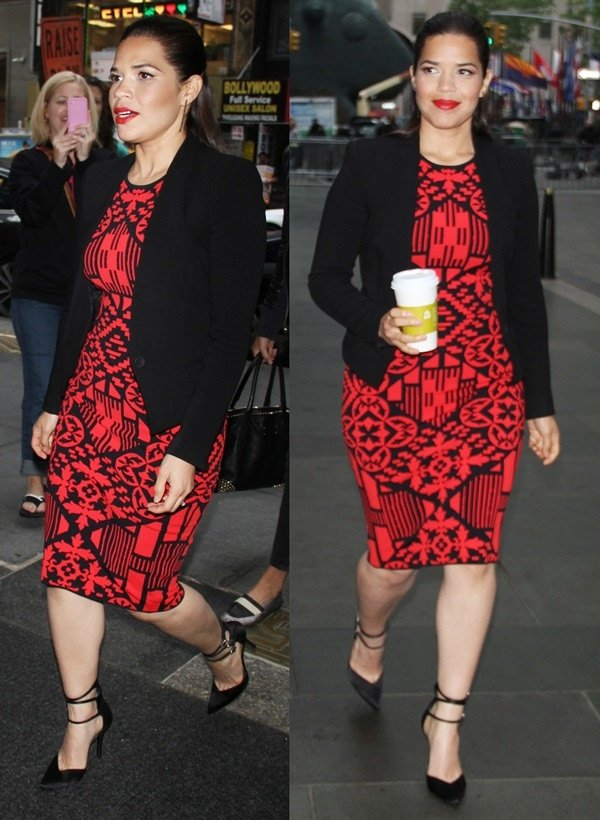 America Ferrera showed off her sex appeal and toned legs in a fitted red dress, a black blazer, and strappy black pumps