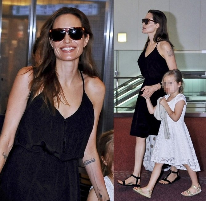Angelina Jolie with four of her children arriving in Tokyo