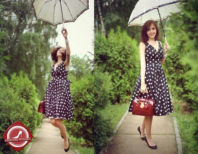 Daria H. of Lozhka Moda dressing down her polka-dotted frock with simple black flats
