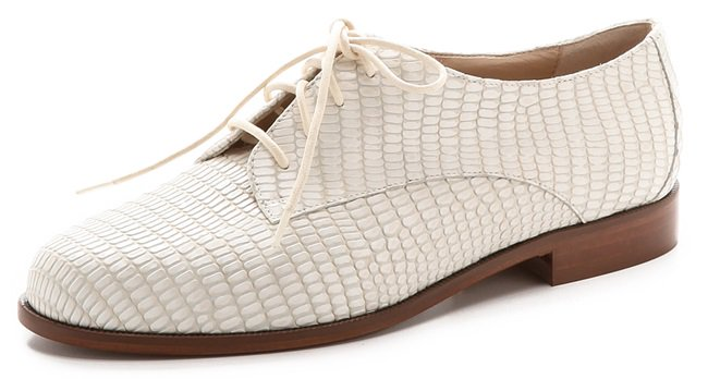 Lizard-embossed leather lends luxe texture to menswear DVF oxfords
