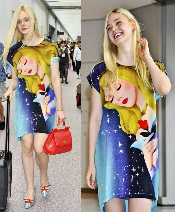 Elle Fanning in a t-shirt dress printed with Sleeping Beauty on it