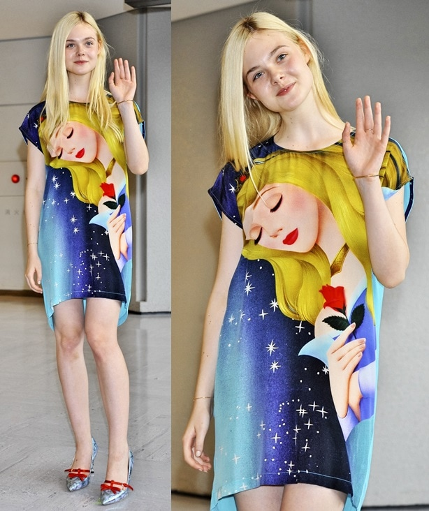 Elle Fanning in a colorful t-shirt dress and pointy bow-detailed pumps