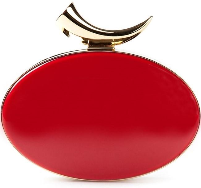 Giuseppe Zanotti Enamel Box Clutch in Red