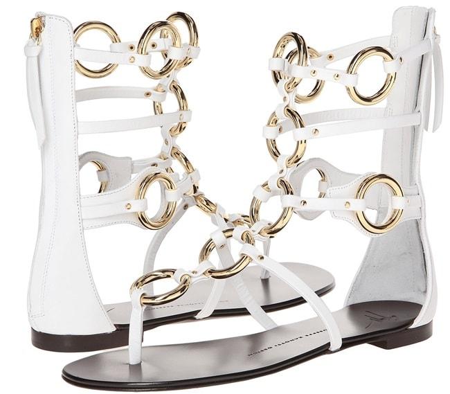 Giuseppe Zanotti Gold-Ring Flat Gladiator Sandals