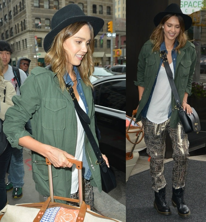 Jessica Alba went grunge with her look this time by mixing the piece with a denim shirt, a loose white tank, and slouchy printed pants