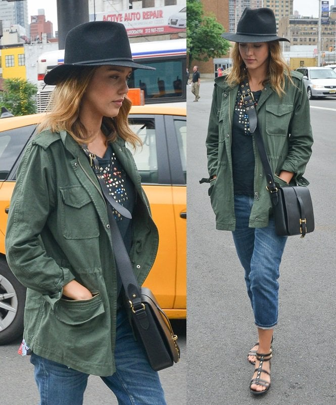 Jessica Alba wore her jacket with a studded black t-shirt and some cropped jeans