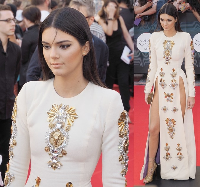 Kendall Jenner wearing a daring split-front dress