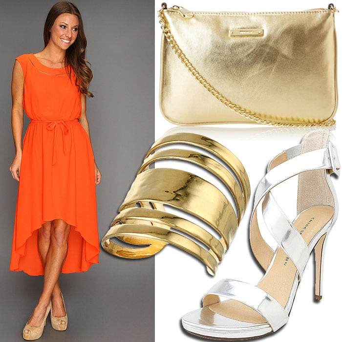 Metallics with orange dress outfit inspired by Jessica Alba