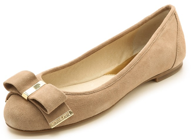 Polished hardware accents the soft bow on luxe suede MICHAEL Michael Kors ballet flats
