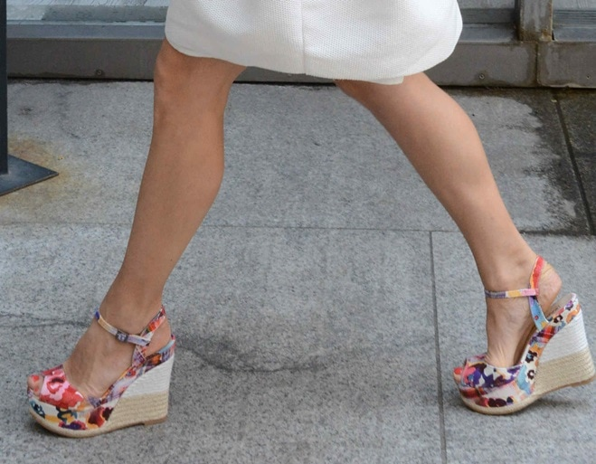 A closer look at Michelle's really cute printed wedges