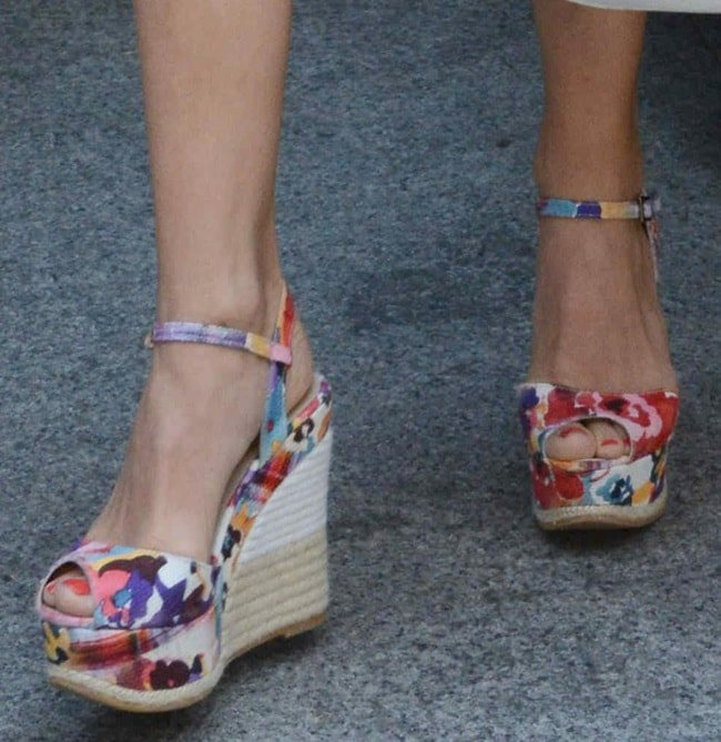 A closer look at Michelle's floral wedges