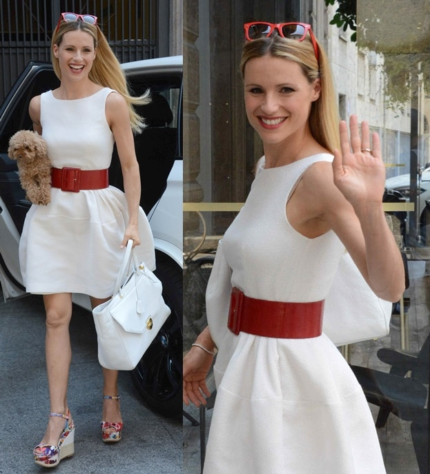 Michelle Hunziker dressing down her white frock with printed wedges while out and about in Milan, Italy, on June 21, 2014