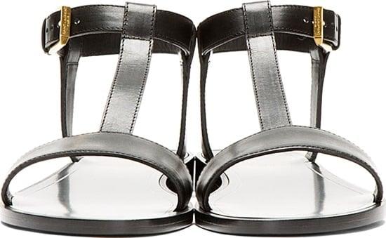 Saint Laurent Black Leather Nu Pieds T-Strap Sandals