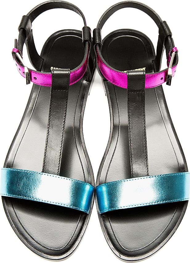 Saint Laurent Metallic Leather T-Strap Sandals