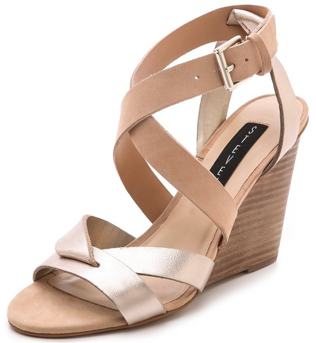 Colorblocked Steven sandals in a mix of luxe nubuck and metallic leather