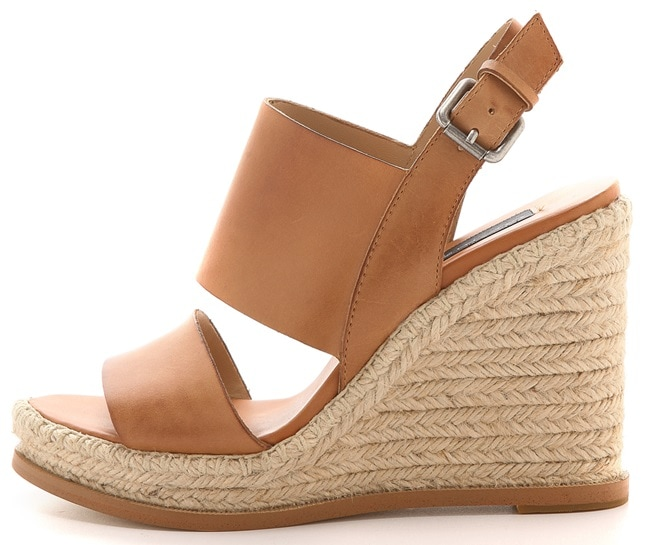 Braided jute trim adds a casual feel to Steven espadrille sandals
