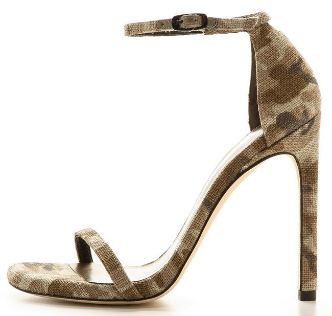 Camouflage linen lends a playful feel to sophisticated Stuart Weitzman sandals