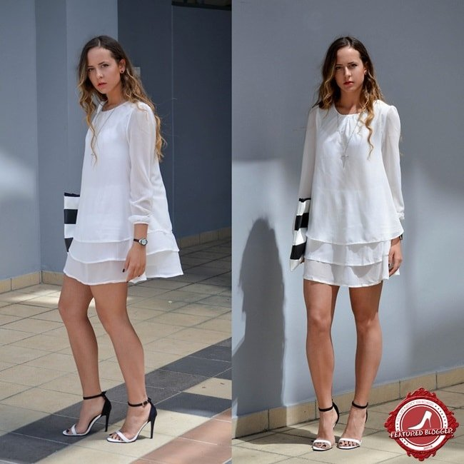 Fashion blogger Tina Stefanovic of Style Sinners capping off her white-hot summer look with black-and-white sandals and a matching clutch